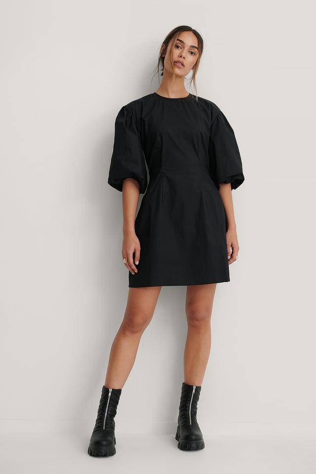 Robe Mini À Manches Bouffantes Courtes Black