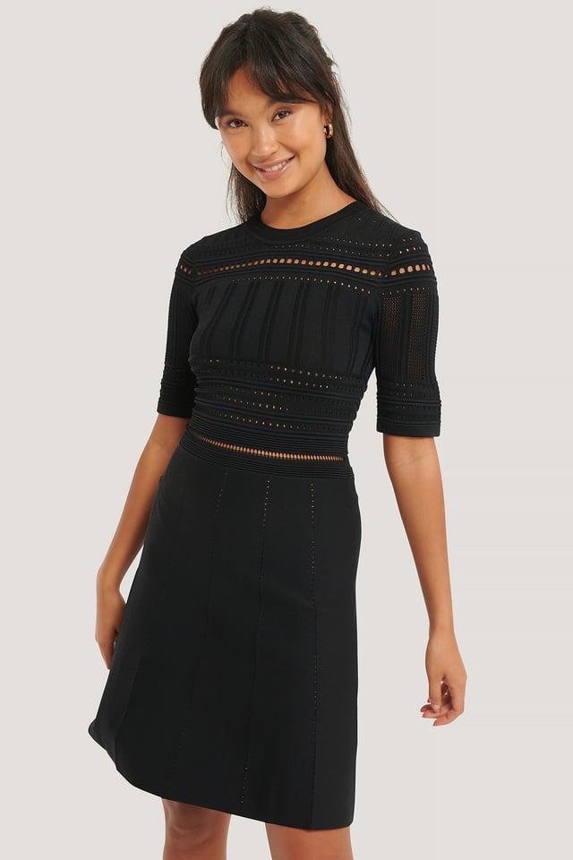 Short Sleeve Knitted Midi Dress Black