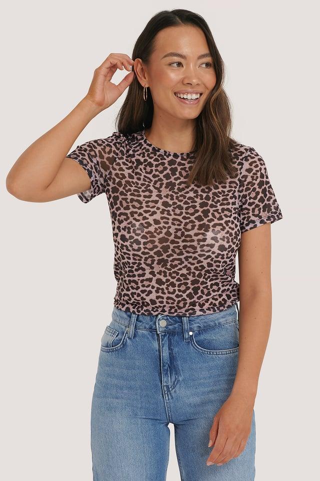 Leopard Haut Maille Manches Longues