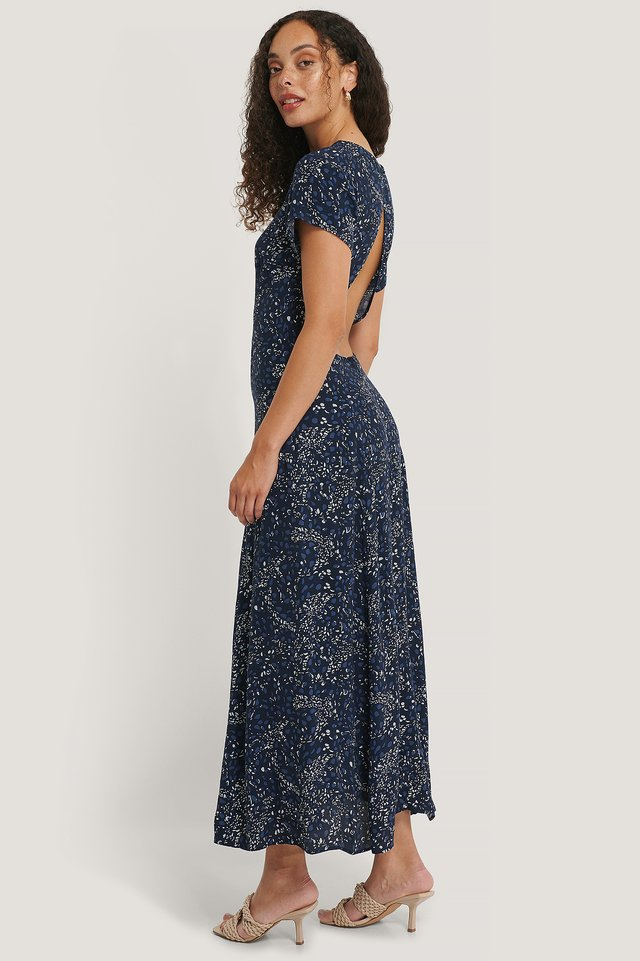 Robe Dos Ouvert Navy Flower