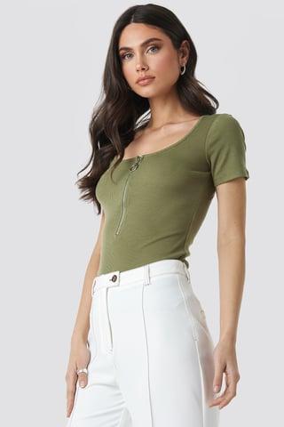 Khaki Short Sleeve Zipped Top