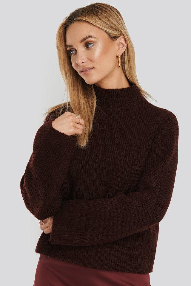 Burgundy Short Wide Sleeve Knitted Polo