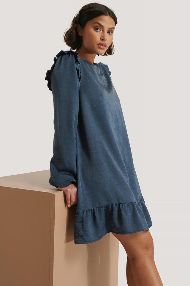 Robe Mini À Volants Blue Night
