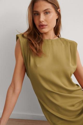 Green Mini Robe À Épaulettes