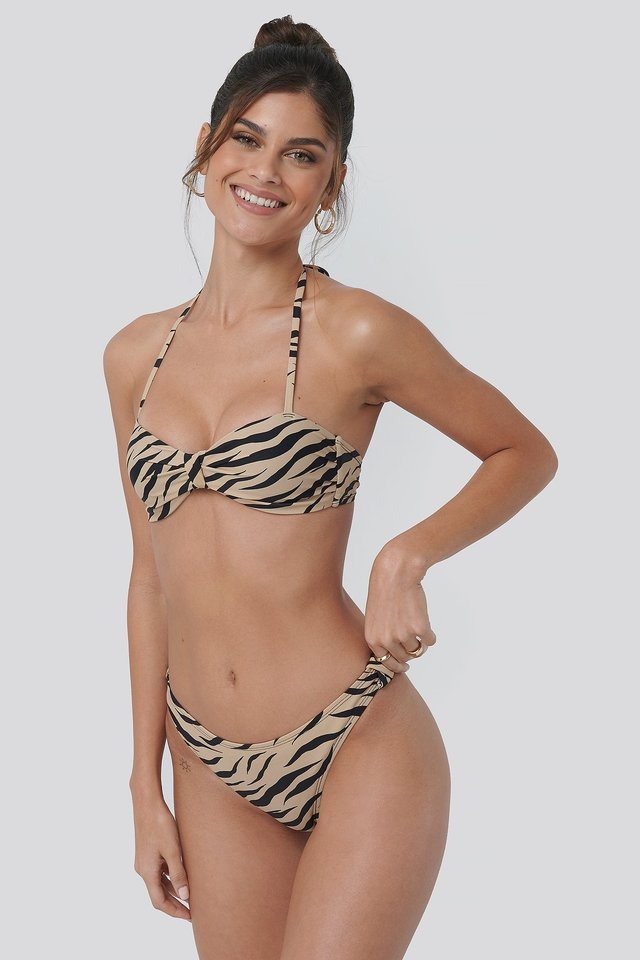 Zebra Side Knot High Cut Bikini