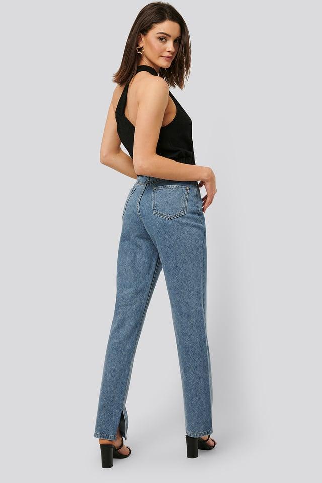 Mid Blue Jean Droit Taille Haute