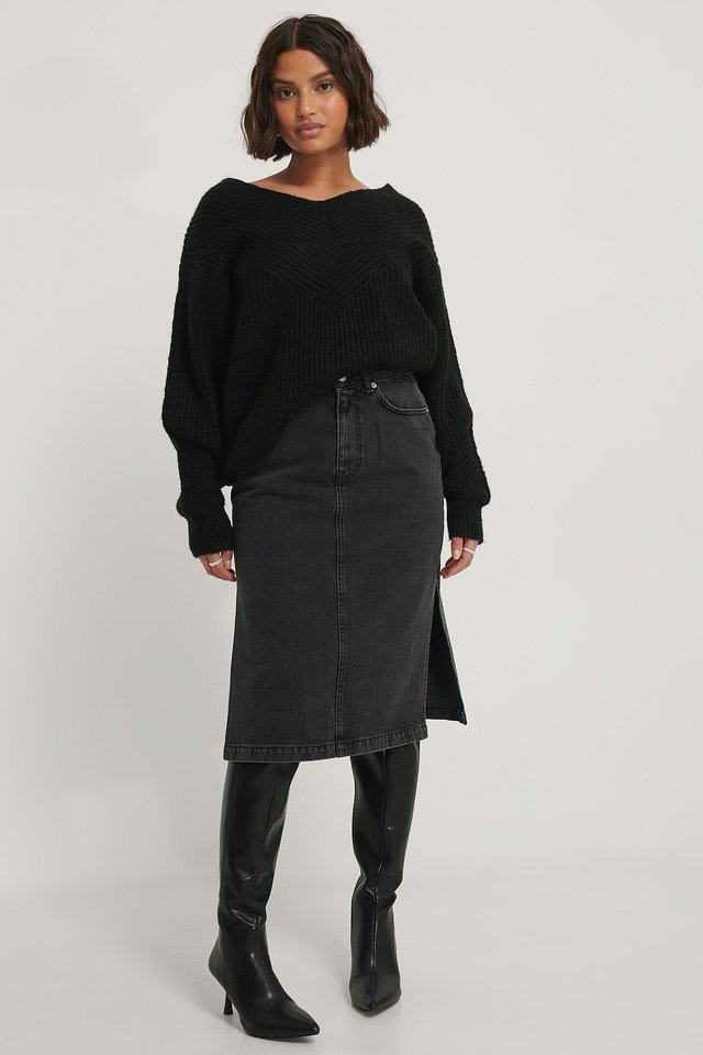 Black Jupe En Jean