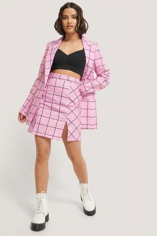 Pink Check Jupe Fendue Courte