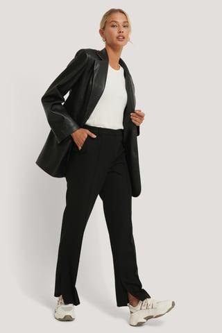 Black Pantalon Ajusté À Fente Latérale