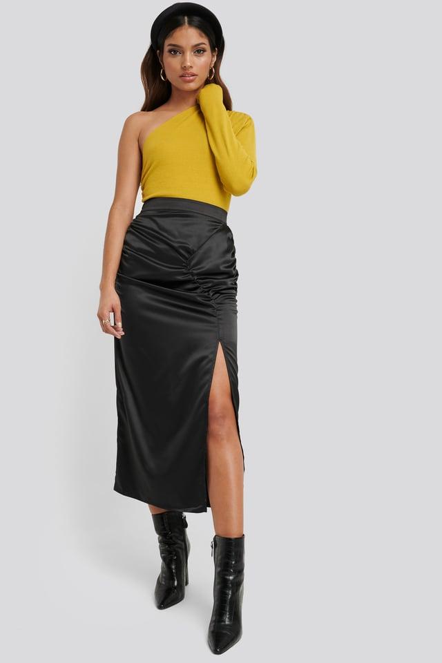 Side Split Draped Skirt Black