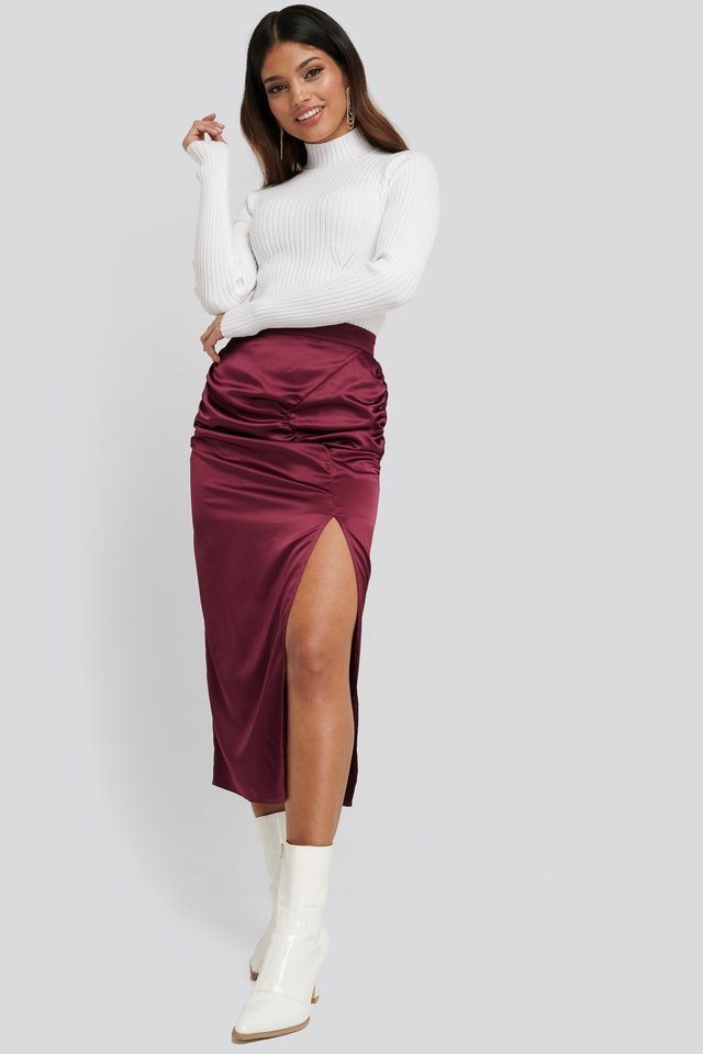 Burgundy Side Split Draped Skirt