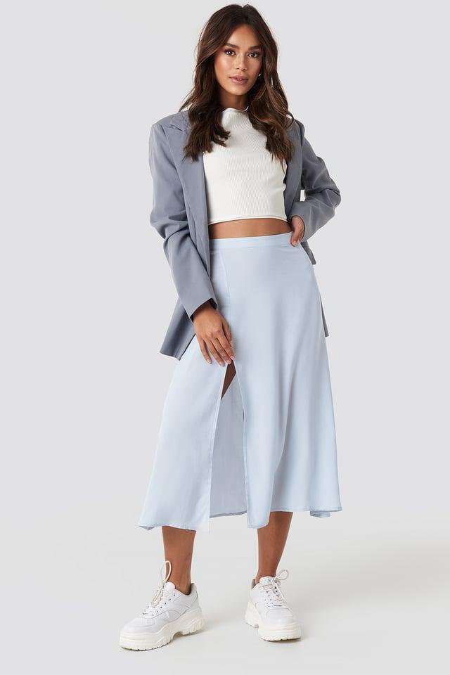 Pale Blue Side Split Midi Skirt