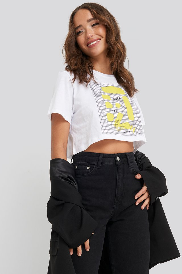Sign Print Cropped Tee White
