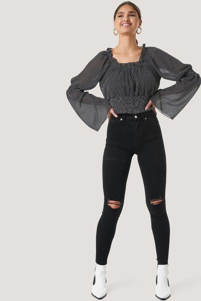 Skinny High Waist Destroyed Jeans Black