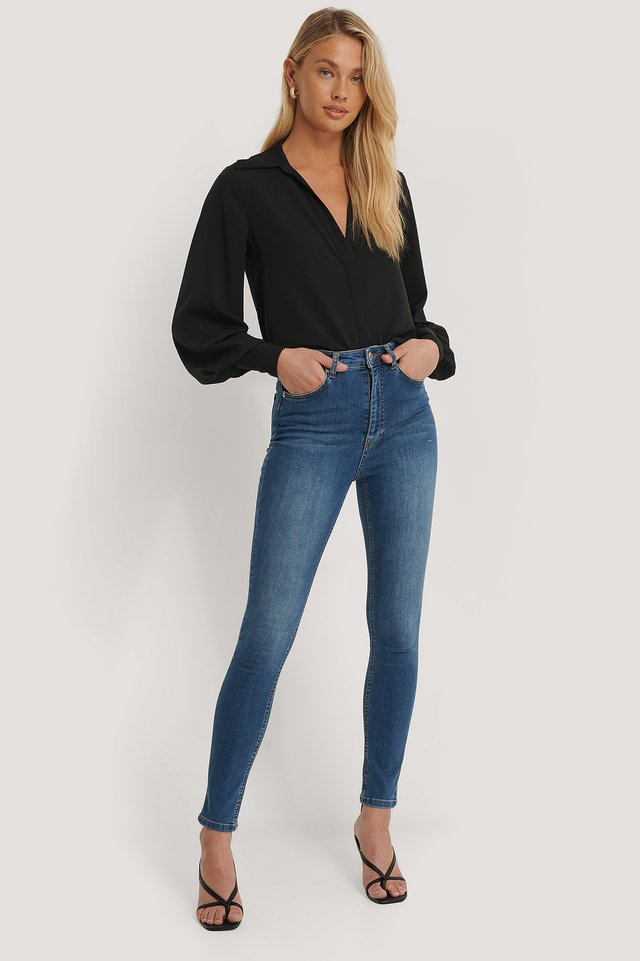 Mid Blue Skinny High Waist Jeans