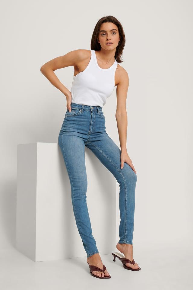 Mid Blue Biologiques Jean Slim Taille Haute
