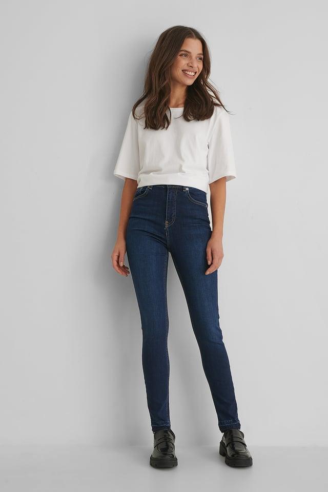 Dark Blue Skinny High Waist Open Hem Jeans