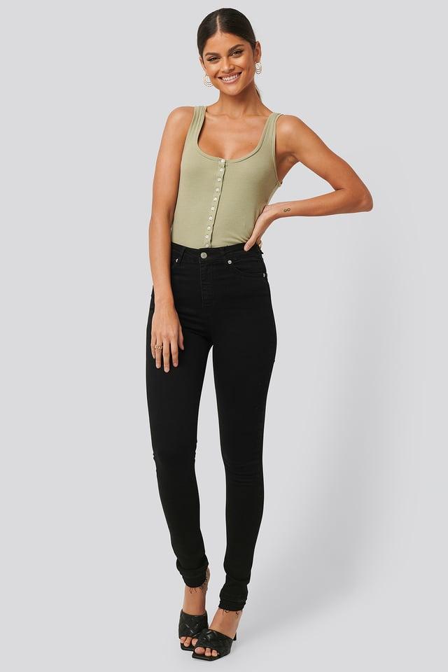 Black Skinny High Waist Open Hem Jeans Tall