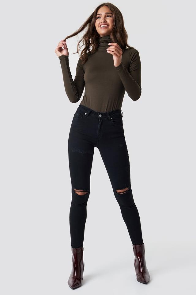Skinny Mid Waist Destroyed Jeans Black