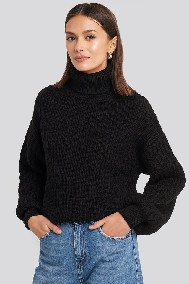 Black Sleeve Detailed Knitted Polo Sweater