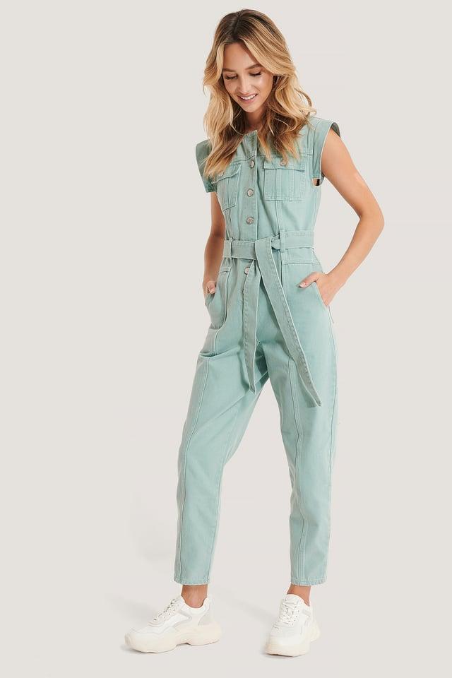 Combinaison Pantalon À Ceinture Dusty Green