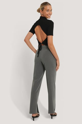 Grey Pantalon Ajusté À Fente Latérale