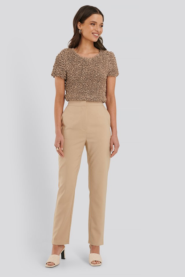 Beige Pantalon De Costume Coupe Slim