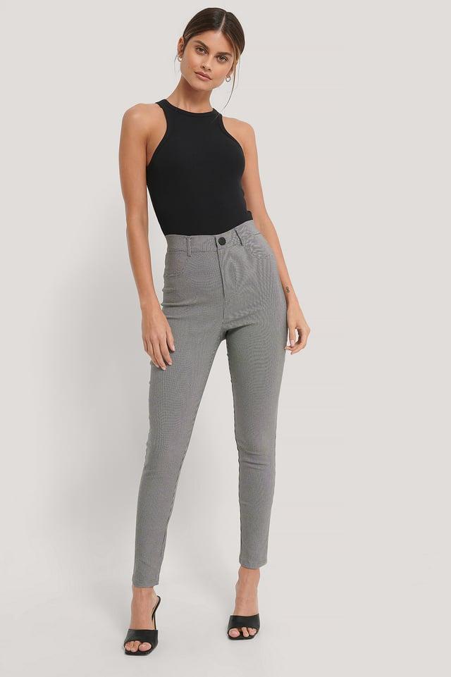 Houndstooth Pattern Pantalon Slim Fit