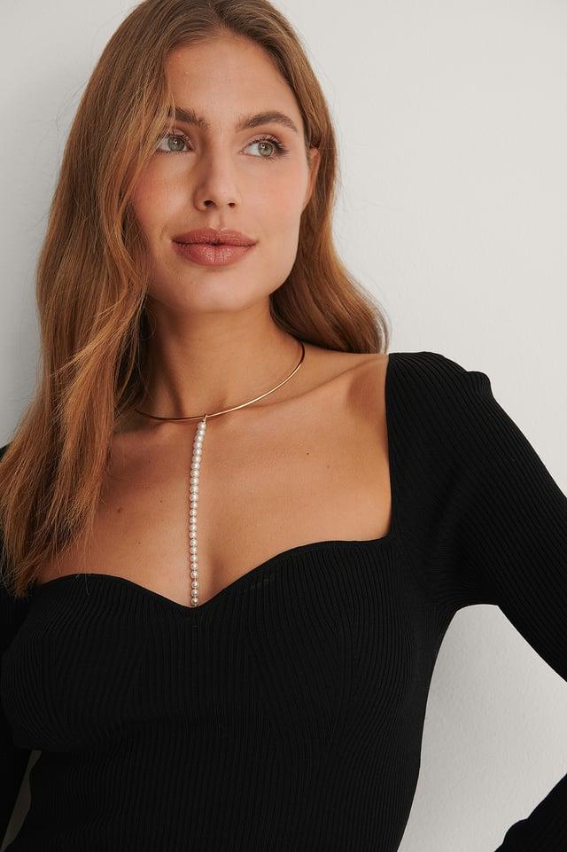 Gold/White Collier De Perles