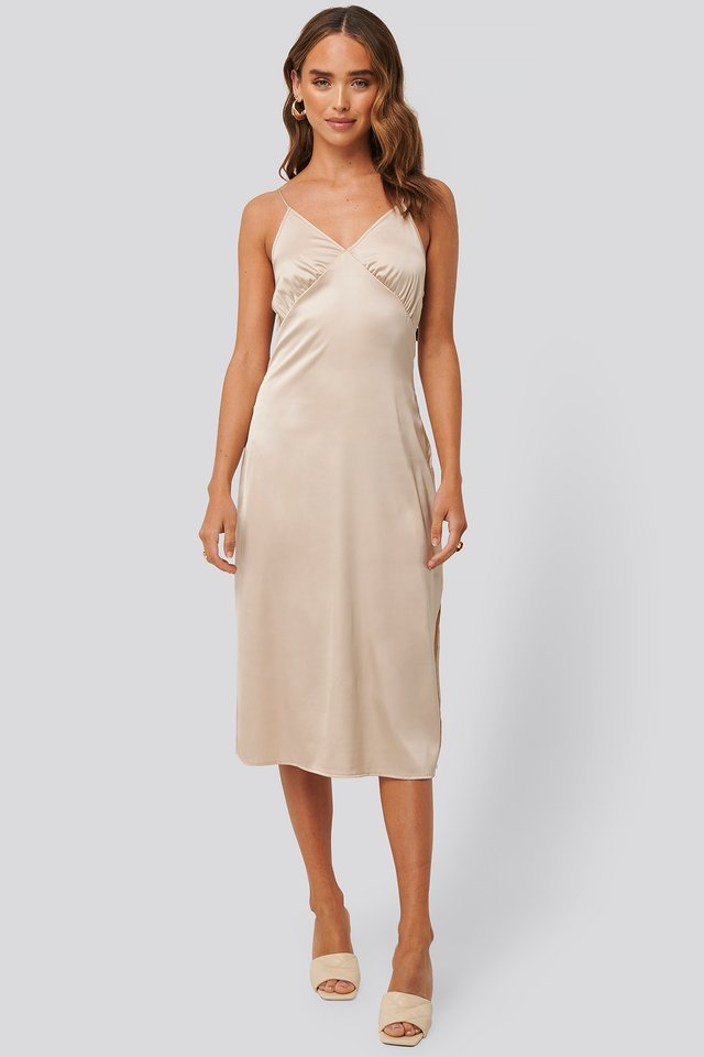 Slip Satin Slit Dress Light Beige