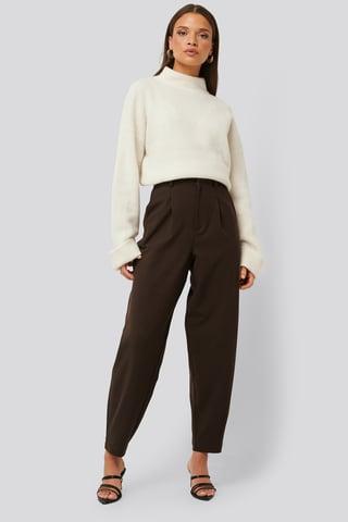 Brown Pantalon Ample À Pinces