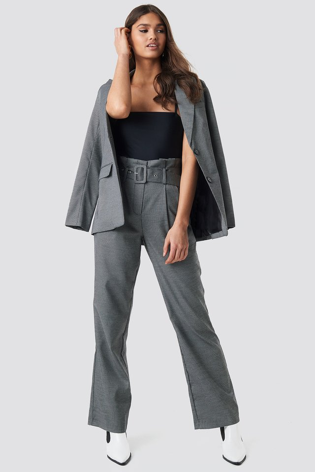 Small Check Paperbag Suit Pants Black