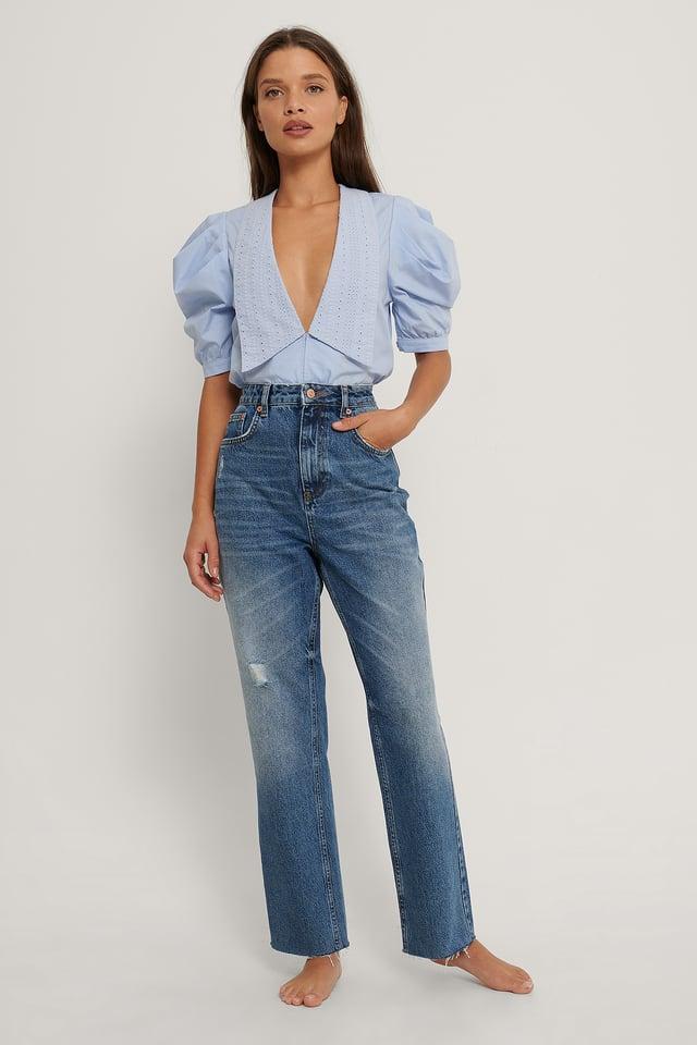 Mid Blue Jean Taille Haute Droit
