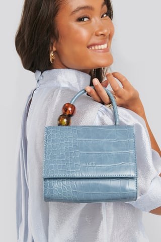 Light Blue Small Squared Top Handle Bag