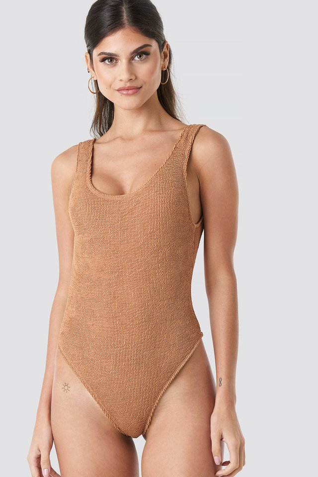 Mocha Smocked High Cut Swimsuit