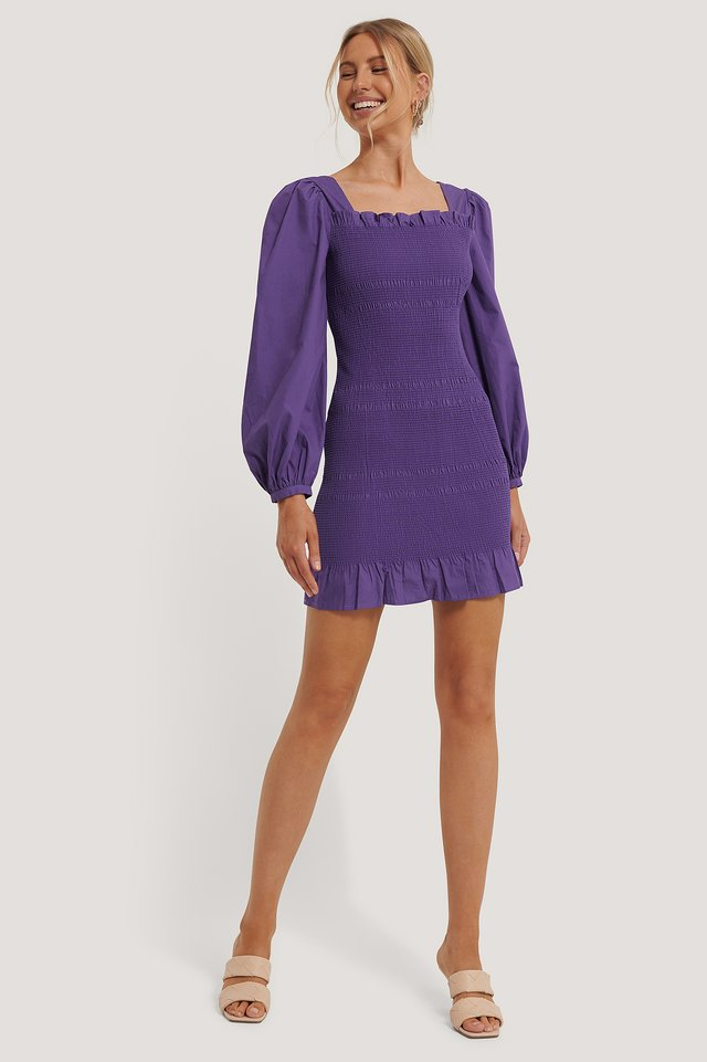 Smocked Mini Dress Purple