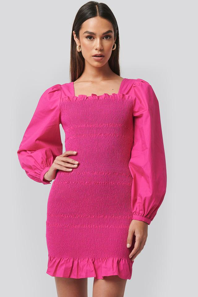 Smocked Mini Dress Fuchsia