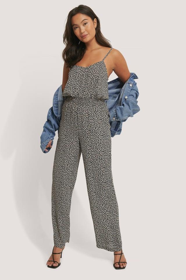 Black Print Combinaison Pantalon À Motifs