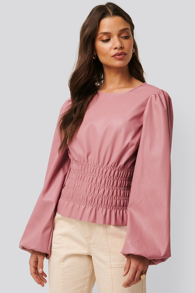 Dusty Pink Smocked PU Top