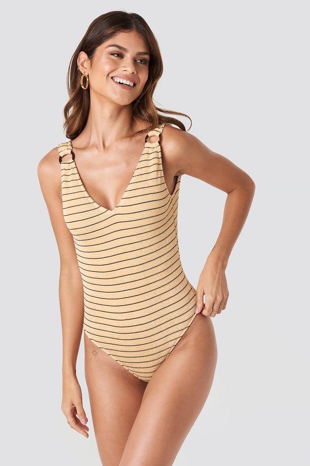 Beige Smocked Striped Swimsuit