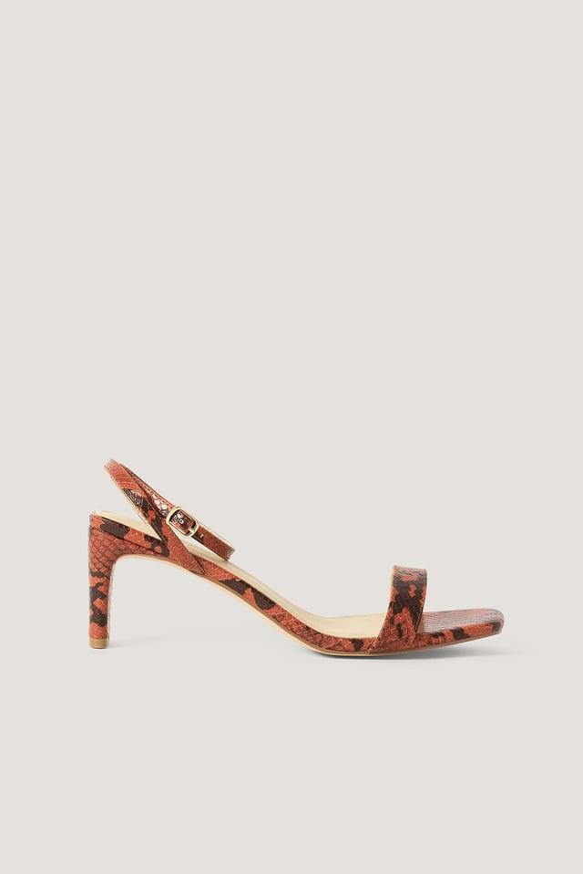Rustic Red Snake Basic Block Heel Sandals