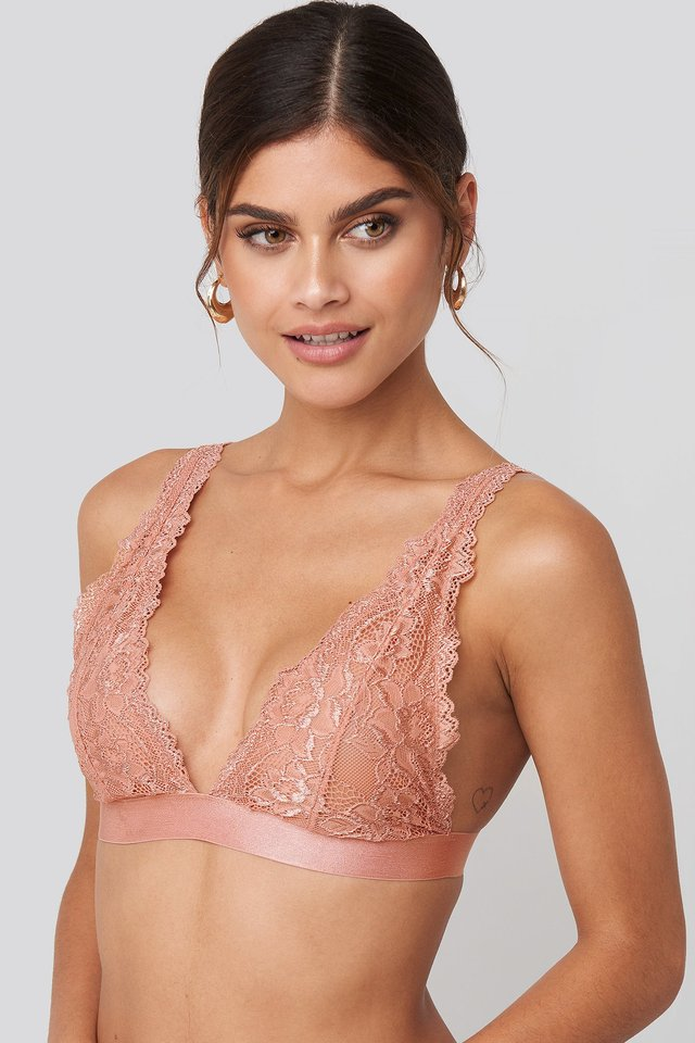 Pink Umber Soft Lace Bra