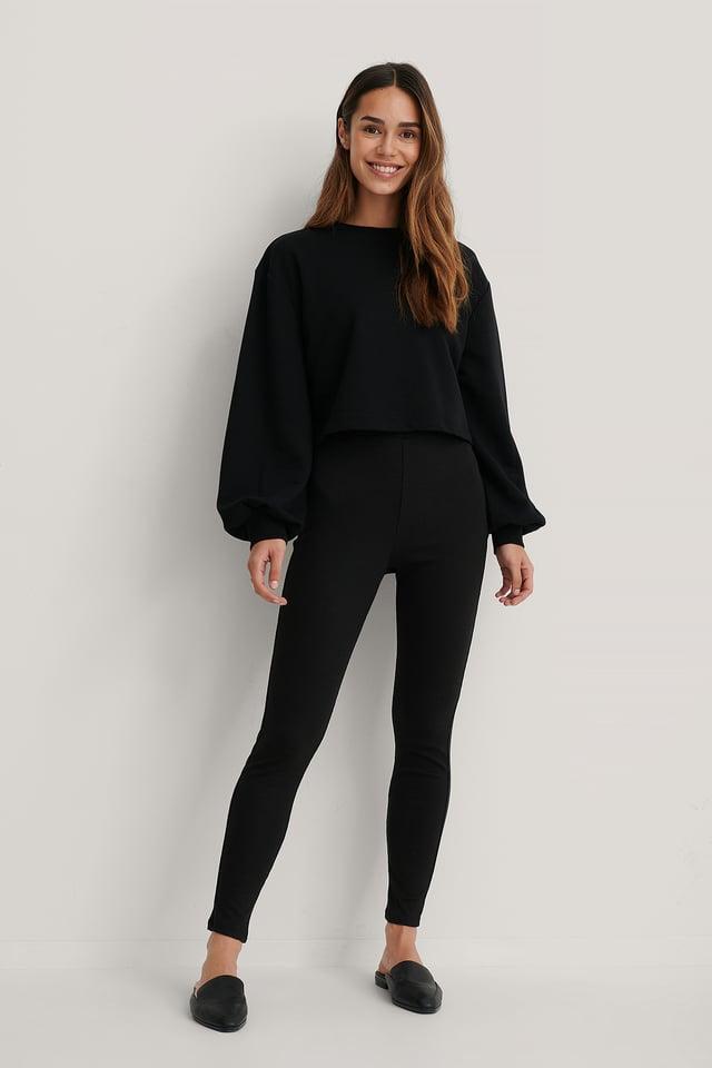 Collants Côtelés Doux Taille Haute Black