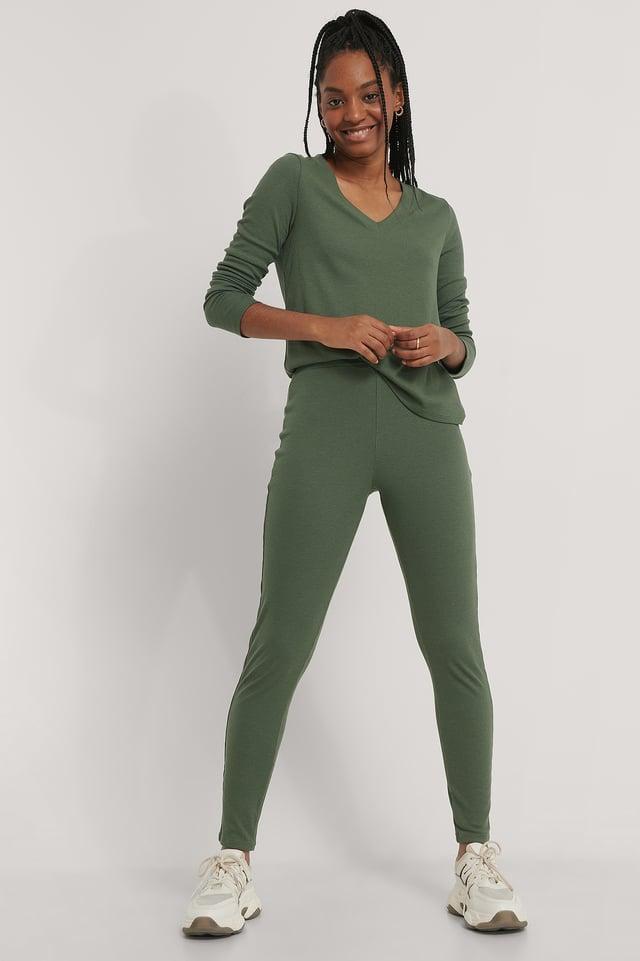 Collants Côtelés Doux Taille Haute Dark Green