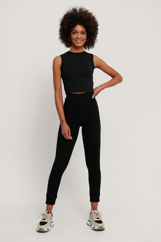 Recyclés Collants Côtelés Doux Taille Haute Black