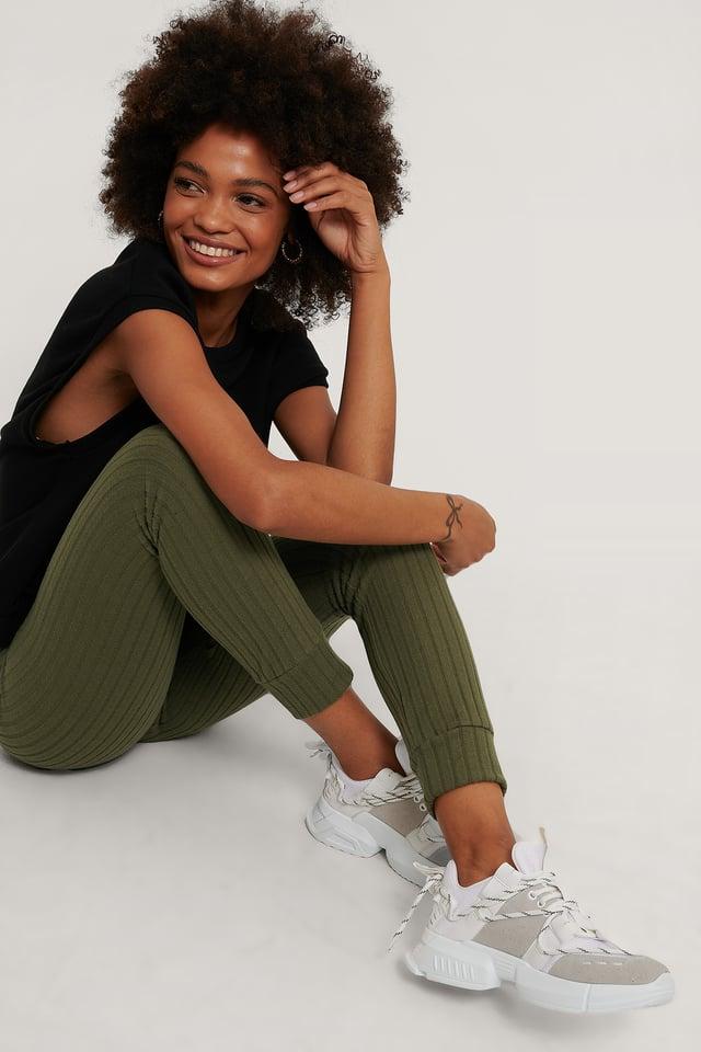 Khaki Recyclés Collants Côtelés Doux Taille Haute