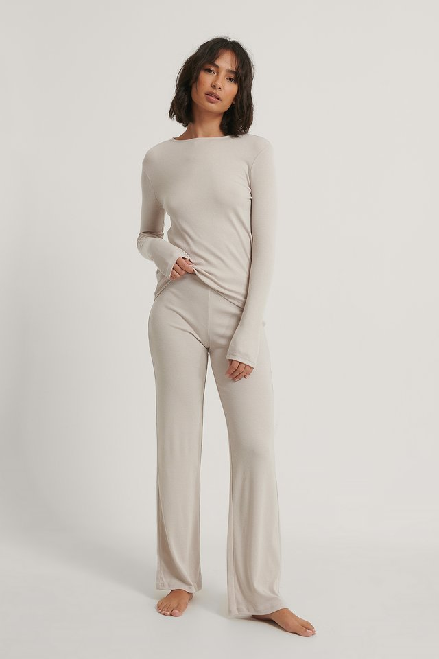 Soft Ribbed Wide Basic Pants Dusty Light Beige