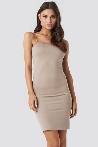 Dark Beige Spaghetti Strap Dress
