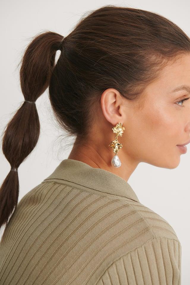 Gold Boucles D'Oreilles Perles En Forme De Gouttes