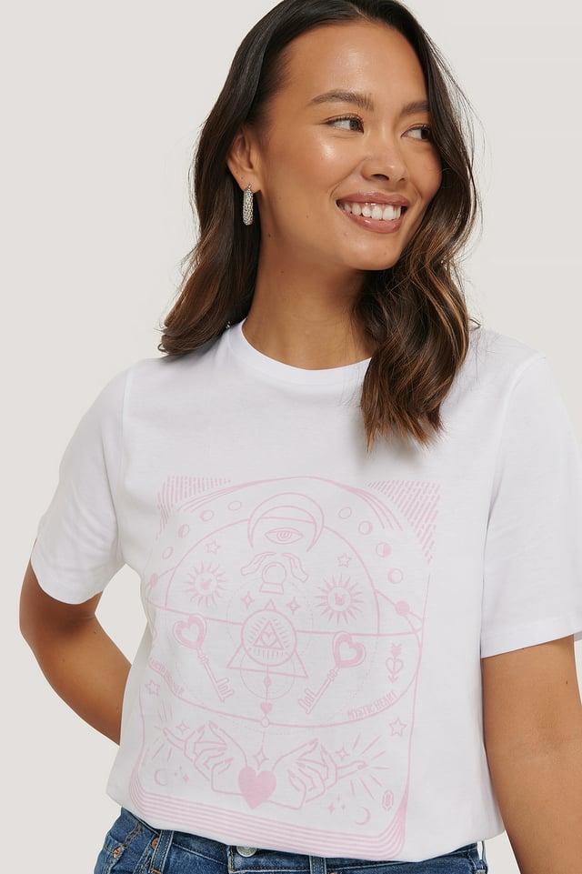 White Biologique Tee-shirt À Motifs
